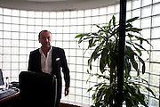 Italian businessman Francesco Becchetti in his Tirana office. His company, the Becchetti Energy Group, is investing in the construction of a hydroelectric dam in southern Albania...Tirana, Albania. June 5, 2009