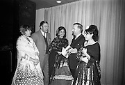 09/02/1966<br /> 02/09/1966<br /> 09 February 1966<br /> Airborne Travel Agency Film Reception at the Irish Sugar Co. Theatre at Earlsfort Terrace,<br /> Dublin. Pictured prior to the continental film show were (l-r): Miss Catalina Rosales; Baron Michael Raben (Director, Airborne Travel Agency); Miss Amparo Moreno; Mr. John D. O'Neill, Manager of Airborne Travel Agency and Miss Adelina Tost.