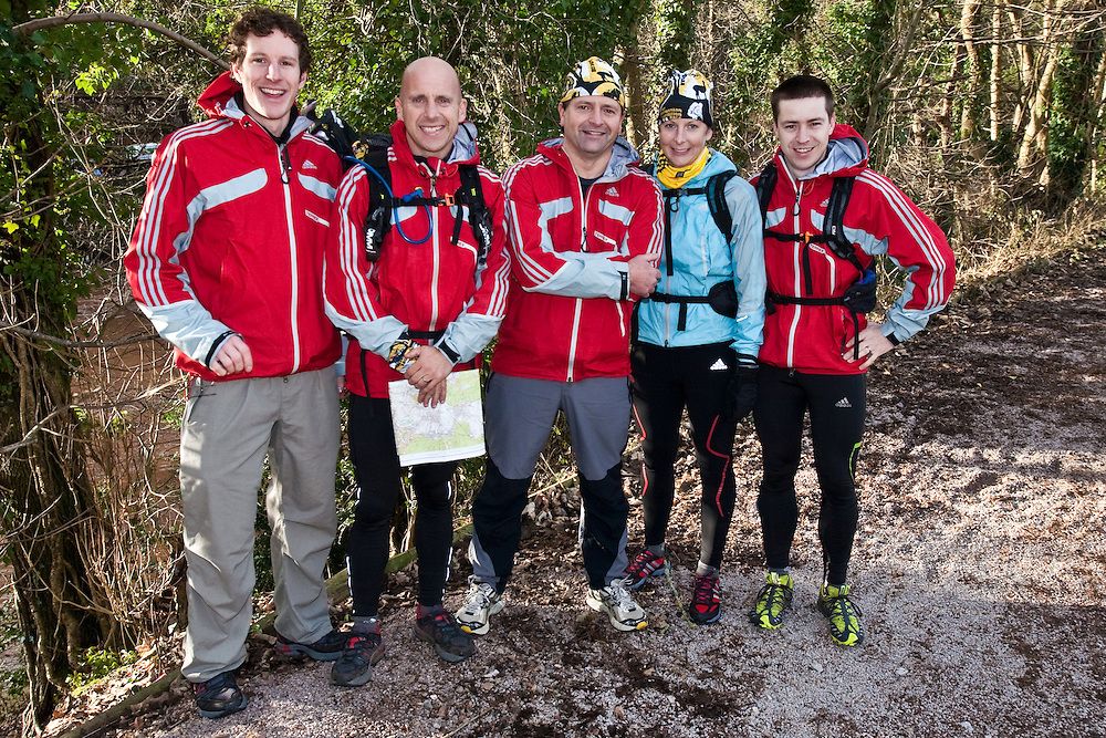 Left to Right - Bruce Duncan, Nick Gracie, Richard Maddon, Fi Spotswood, Mark Humphrey  at the start of  Training with AdidasTERREX on the Wenger Patagonia Expedition Race media day. 11/01/2011.Copyrighted work - Permission must be sought before use of this image..Alex Ekins +44 (0)7901 882994.