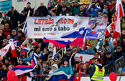 Fans of Slovenia and Robert Kranjec during Flying Hill Individual at 2nd day of FIS Ski Jumping World Cup Finals Planica 2011, on March 18, 2011, Planica, Slovenia. (Photo by Vid Ponikvar / Sportida)