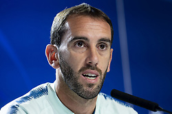October 2, 2018 - Madrid, Spain - Atletico de Madrid Diego Godin during press conference the day before Group Stage UEFA Champions League match between Atletico de Madrid and Club Brujas at Wanda Metropolitano Stadium in Madrid, Spain. October, 2018. (Credit Image: © Coolmedia/NurPhoto/ZUMA Press)