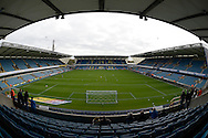 General view of inside The Den Stadium before k/o. Skybet football league championship match , Millwall v Cardiff city at the Den in Millwall, London on Saturday 25th October 2014.<br /> pic by John Patrick Fletcher, Andrew Orchard sports photography.