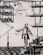 Static electric effects on various substances and solids of different shapes.  From 'Recherches sur les Causes Particulaires des Phenomenes Electriques' by Abbe Nollet (Paris, 1753). Engraving.