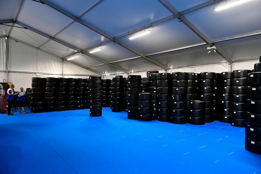 Michelin workshop and tire center, tire technicians <br /> Friday 15 June 2018<br /> 24 Hours of Le Mans<br /> 2018 24 Hours of Le Mans<br /> Circuit de la Sarthe WI FR<br /> World Copyright: Scott R LePage