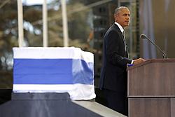 September 30, 2016 - Jerusalem, ISRAEL - U.S. President Barack Obama delivers his eulogy of former Israeli President Shimon Peres during his funeral, at Mt. Herzl Military Cemetery in Jerusalem, Israel, Friday, Sept. 30, 2016. (Credit Image: © Prensa Internacional via ZUMA Wire)