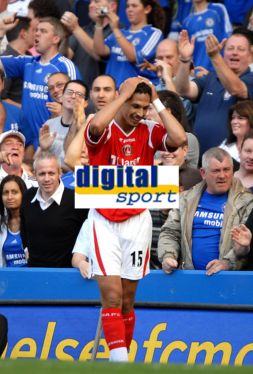 Photo: Ed Godden.<br />Chelsea v Charlton Athletic. The Barclays Premiership. 09/09/2006. Charlton's Talal El Karkouri can't believe he just gave Chelsea a penalty.