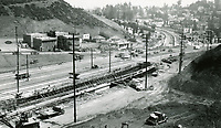 1940 Looking SE at the construction of Highway 101 at the junction with Highland Ave.