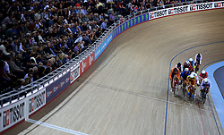 General view during the Men's Keirin Omnium Elimination during day three of the Tissot UCI Track Cycling World Cup at Lee Valley VeloPark, London.