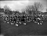 06/02/1960<br /> 02/06/1960<br /> 06 February 1960 <br /> St Laurence O'Toole Pipe Band perform at Fairview Park, Dublin.