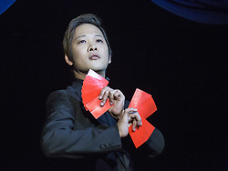 © Licensed to London News Pictures. 03/09/2015. London, UK. Magician Den Den. Press preview of the new magic show The Illusionists at Café de Paris, London. The touring magic show will open at London's Shaftesbury Theatre on 14 November 2015. Photo credit : Bettina Strenske/LNP