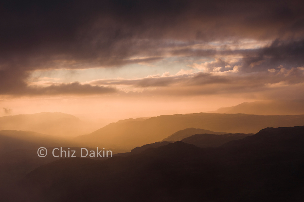 Break in the clouds at sunset over Eskdale