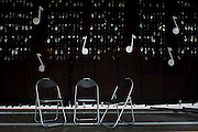 Three seats awaiting musicians before a local village concert at Wells-next-the-Sea in Nofolk.