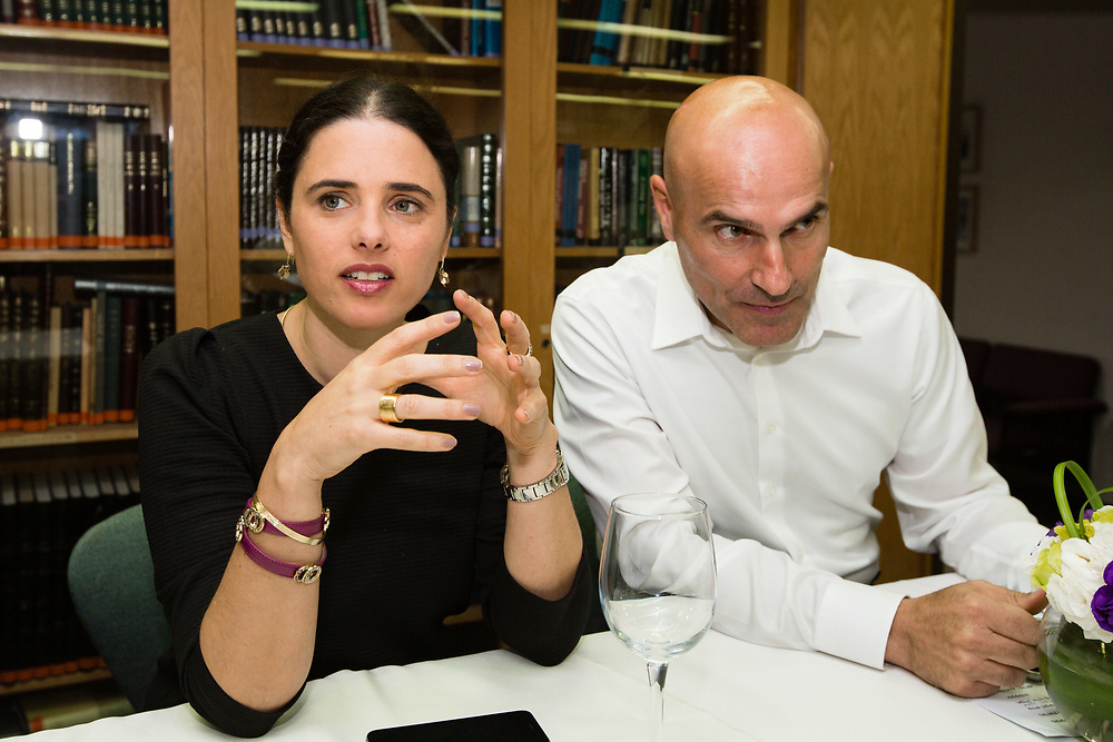 Israeli Attorney Effi Naveh, chairman of the Israel Bar Association (R) and Israeli Justice Minister Ayelet Shaked, are seen at the Israeli Bar Association's offices in Jerusalem, Israel, on July 10, 2016.