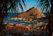 MEXICO, BAJA CALIFORNIA SOUTH Cabo San Lucas; harbor and marina with resort hotels, condos and shops