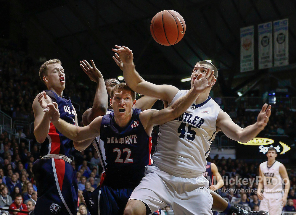 INDIANAPOLIS, IN - DECEMBER 28: Reece Chamberlain #22 of the Belmont Bruins and Andrew Chrabascz #45 of the Butler Bulldogs battle for the loose ball at Hinkle Fieldhouse on December 28, 2014 in Indianapolis, Indiana. (Photo by Michael Hickey/Getty Images) *** Local Caption *** Reece Chamberlain; Andrew Chrabascz