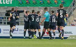 Falkirk's Louis Longridge (14) cele scoring their third goal. Falkirk 6 v 1 Dundee United, Scottish Championship game played 6/1/2018 played at The Falkirk Stadium.