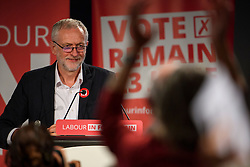 © Licensed to London News Pictures. 14/05/2016. London, UK.  Leader of the Labour Party, JEREMY CORBYN leads a rally to remain in the EU at the QE2 centre in Westminster, London. Campaigning for the  EU referendum is due to step up a gear over the weekend as key figures from both sides of the debate will be campaigning over weekend to try to win votes. Photo credit: Ben Cawthra/LNP