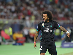 August 8, 2017 - Skopje, Macedonia - Real Madrid's Spanish defender Marcelo reacts during the UEFA Super Cup football match between Real Madrid and Manchester United on August 8, 2017, at the Philip II Arena in Skopje. (Credit Image: © Ahmad Mora/NurPhoto via ZUMA Press)