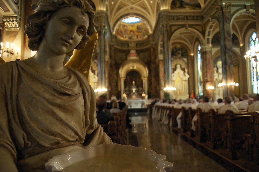 A view from the back of The Basilica of St. Josaphat during mass, Sunday Oct. 12 2008. The Basilica is patterned after St. Peter's in Rome and is an official landmark of the city of Milwaukee.