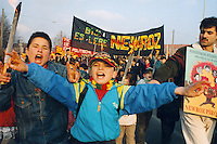 """20 MAR 1996, KIEL/GERMANY:<br /> Jugendliche Kurden demonstrieren anlaesslich des kurdischen Neujahrsfestes """"Newroz""""<br /> IMAGE: 19960320-01/01-01<br /> KEYWORDS: Demo, Demonstrator, Demonstration, Kind, child"""