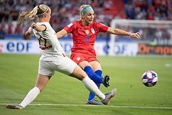 Julie Ertz of USA compete for the ball with Beth Mead of England during the 2019 FIFA Women's World Cup France Semi Final match between England and USA at Groupama Stadium on July 2, 2019 in Decines near Lyon, France.<br /> Photo by David Niviere/ABACAPRESS.COM
