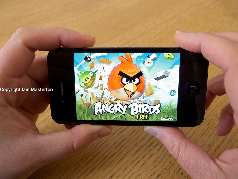 Popular Angry Birds game on an Apple iphone 4G smart phone