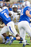 Dec 1, 2012; Tulsa, Ok, USA; University of Central Florida Knights defensive lineman Cam Henderson (49) defends during a game against the Tulsa Hurricanes at Skelly Field at H.A. Chapman Stadium. Tulsa defeated UCF 33-27 in overtime to win the CUSA Championship. Mandatory Credit: Beth Hall-USA TODAY Sports