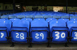 A general view of blue seats with numbers painted on them at Roots Hall, home of Southend United - Mandatory by-line: Joe Dent/JMP - 20/08/2019 - FOOTBALL - Roots Hall - Southend-on-Sea, England - Southend United v Peterborough United - Sky Bet League One