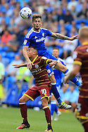 Joe Ralls of Cardiff city ® challenges Tjaronn Chery of Queens Park Rangers.  EFL Skybet championship match, Cardiff city v Queens Park Rangers at the Cardiff city stadium in Cardiff, South Wales on Sunday 14th August 2016.<br /> pic by Andrew Orchard, Andrew Orchard sports photography.