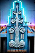 Art Deco bass reliefs on Miami Beach's MacArthur Hotel, designed by architect T. Hunter Henderson in 1930 and enhanced later with glowing neon lights