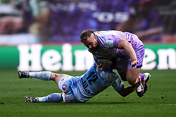 Tomas Francis of Exeter Chiefs is challenged by Henry Chavancy of Racing 92 - Mandatory by-line: Ryan Hiscott/JMP - 17/10/2020 - RUGBY - Ashton Gate Stadium - Bristol, England - Exeter Chiefs v Racing 92 - Heineken Champions Cup Final