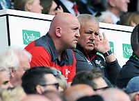 Football - 2019 pre-Rugby World Cup warm-up (Quilter International) - England vs. Wales<br /> <br /> Wales head coach Warren Gatland and Shaun Edwards watch from the stands, at Twickenham.<br /> <br /> COLORSPORT/ANDREW COWIE