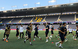 General view as Manchester United players train on the plastic pitch at the Stade de Suisse, Bern.