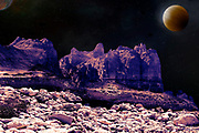 Digitally enhanced image of alien landscape with planets and moons