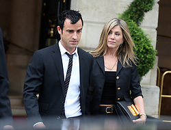 """File photo - EMBARGOED FOR FRENCH WEBS AND APPS UNTIL JUNE 29. Jennifer Aniston and boyfriend Justin Theroux head to the very exclusive Jules Verne restaurant at the first floor of the Eiffel Tower in Paris, France, on June 13, 2012. Hollywood couple Jennifer Aniston and Justin Theroux are separating after two years of marriage. The pair, who reportedly met on the set of comedy film Wanderlust, said the mutual decision was """"lovingly made"""" at the end of last year. Photo by ABACAPRESS.COM"""