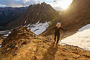 Anna Frost on Grant-Swamp Pass during the 2015 Hardrock 100, trying to chase down Darcy Piceu. Anna caught and passed Darcy shortly after this moment, and won the '15 hardrock 100.