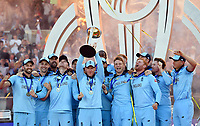 Cricket - 2019 ICC Cricket World Cup - Final: England vs. New Zealand<br /> <br /> England's Eoin Morgan lifts the World Cup trophy after they defeat New Zealand in a Super Over after the scores were tied, at Lords.<br /> <br /> COLORSPORT/ASHLEY WESTERN