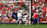 Photo: Richard Lane/Richard Lane Photography. SV Hamburg v Real Madrid. Emirates Cup. 02/08/2008. Real's Daniel Parejo heads in the winning goal.