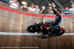 Rhett Rotten riding in his wall of death at Destination Daytona Harley-Davidson during Daytona Beach Bike Week, FL. USA. Wednesday, March 13, 2019. Photography ©2019 Michael Lichter.