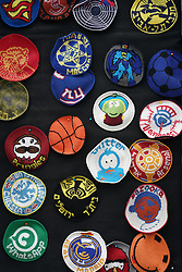 A selection of Jewish kippahs (also called a kappel or skull cap) adapted to carry modern brands and sports names on a market stall in Machane Yehuda market in Jewish west Jerusalem. From a series of travel photos taken in Jerusalem and nearby areas. Photo date: Monday, July 30, 2018. Photo credit should read: Richard Gray/EMPICS