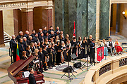 """Images of the Lithuanian Choir performing """"The Singing Revolution"""" at the Wisconsin State Capitol Rotunda, 12 May 2018."""