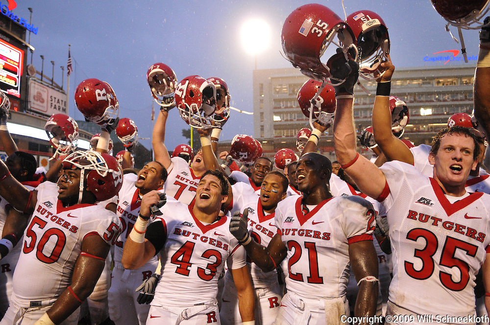 Sep 26, 2009; College Park, MD, USA; Rutgers players celebrate their 34-13 victory over Maryland in NCAA college football at Byrd Stadium.
