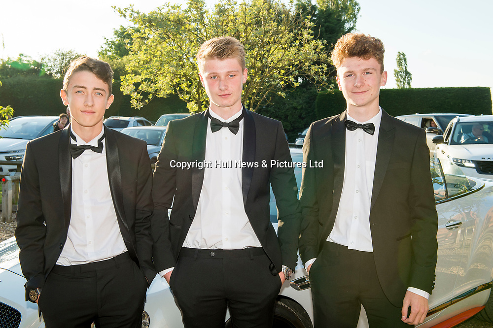 27 June 2019: Somercotes Academy Year 11 prom at the Brackenborough Hotel near Louth.<br /> (l-r) Charlie Bassham (corr), Thomas Smith and Max Hewett. <br /> Picture: Sean Spencer/Hull News & Pictures Ltd<br /> 01482 210267/07976 433960<br /> www.hullnews.co.uk         sean@hullnews.co.uk
