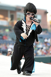 08 August 2015:  Little E, the Compact King of Rock n Roll performed between innings during a Frontier League Baseball game between the Rockford Aviators and the Normal CornBelters at Corn Crib Stadium on the campus of Heartland Community College in Normal Illinois