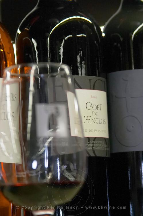 Domaine Enclos de la Croix. Languedoc. ISO standard shape wine tasting glass. France. Europe. Bottle.
