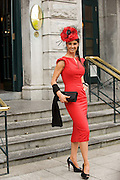 Eva Morrissey, Castletroy, Co. Limerick (Runner up)at Hotel Meyrick in Eyre Sq. Galway for their best dressed Lady Competition during Galway's Race week . Photo:Andrew Downes