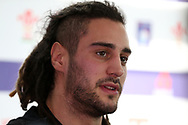 Josh Navidi , the Wales rugby player speaks to the press. . Wales rugby team announcement press conference at the Vale Resort Hotel in Hensol, near Cardiff , South Wales on Tuesday 30th January 2018.  the team are preparing for their opening Natwest 6 Nations 2018 championship match against Scotland this weekend.   pic by Andrew Orchard