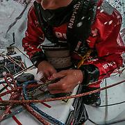 Leg 3, Cape Town to Melbourne, day 03, Sophie Ciszek on board MAPFRE. Photo by Jen Edney/Volvo Ocean Race. 13 December, 2017.