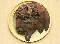 Glazed terra cotta buffalo head decorates Albert Street Bridge, Regina Saskatchewan