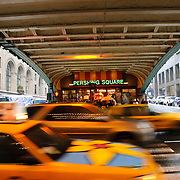 Taxis and overpass ourtside entrance to Grand Central Station